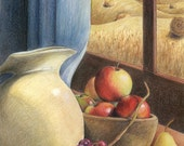"Pastoral rural still-life with clay pitcher, apples, grapes, wheat, round bales - Original Mixed Media Art - ""Harvest"" - CaryeVDPMahoney"