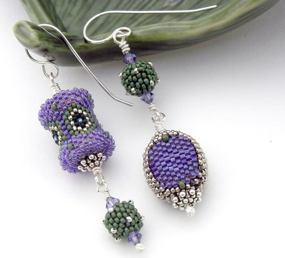 Asymmetrical Earrings - handmade beaded bead art jewelry - purple sage green silver