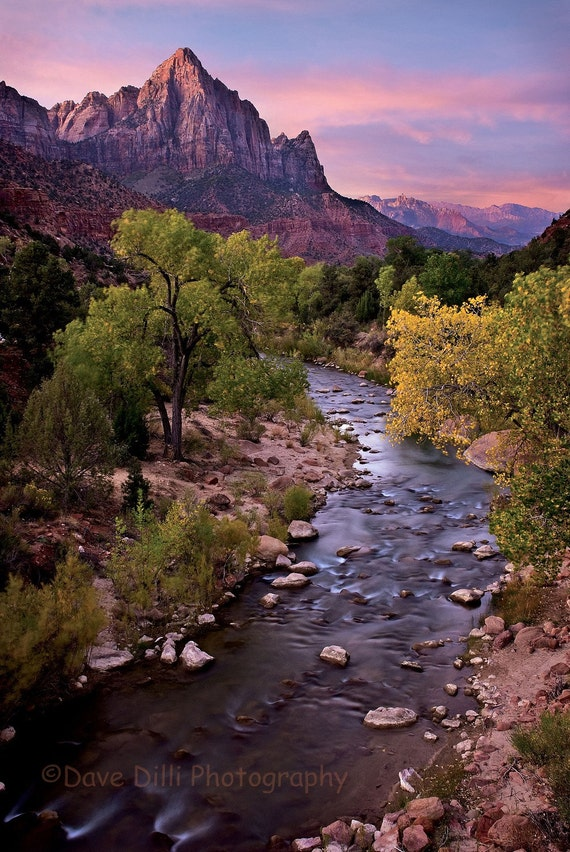 Zion Watchman Photograph Sunrise - 13 x 19 matted Fine Art
