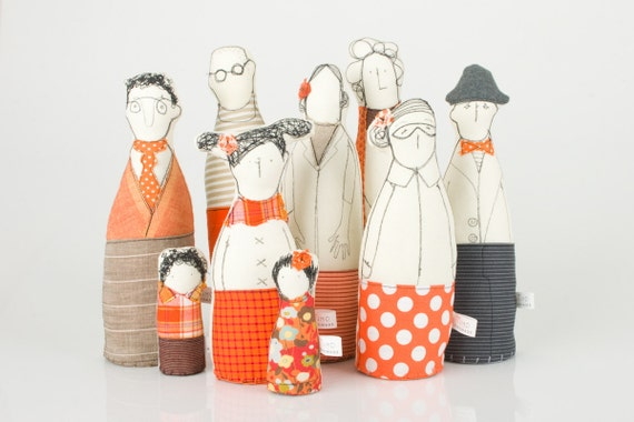 Family , ooak , art doll -  grandparents, parents ,uncle  and and children dressed in Orange and beige  , stripes   and polka dots -handmade