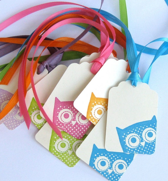 Peek - A - Whoo - Hand Stamped Peeking Owl Gift Tags - Set of 10 - Variety Pack - Multi Colors and Cream