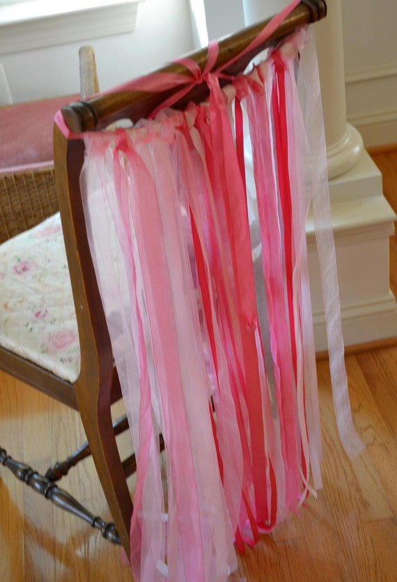 Ribbon Chair Sash Decoration Wedding Bridal Shower Pink Satin Organza Satin Ribbon Curtain