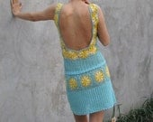 A soft blue and yellow hand crochet dress - kovale