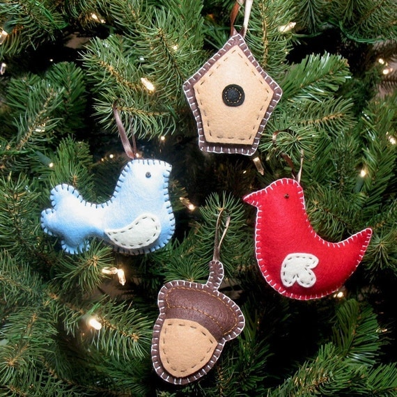Bird Christmas Ornament PATTERNS - Felt Birds, Birdhouse, and Acorn PDFs - Hand Embroidered - Suitable for Beginners