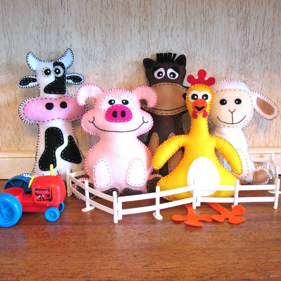 5 Farm Stuffed Animal Hand Sewing PATTERNS - Make Your Own Hand-embroidered felt Cow, Pig, Horse, Chicken, Lamb - Easy