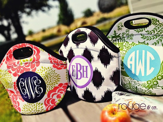 monogrammed lunch cooler - insulated zipper tote with customizable pattern and monogram