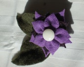 Flower Pin No.059 Felted Purple Cashmere, Plum Merino Wool, and Loden Green Cashmere with Vintage Button