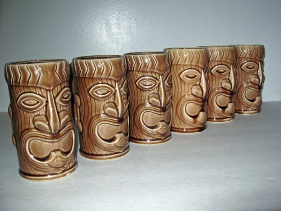 vintage brown TIKI mugs set of 6 ceramic 1960s kitsch bar