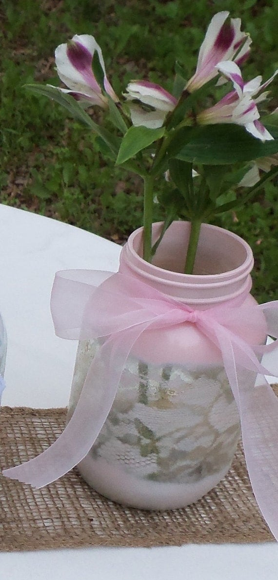Mason Jar - Hand Painted Elegant Lace Centerpiece Vase - Customized with your Wedding Colors