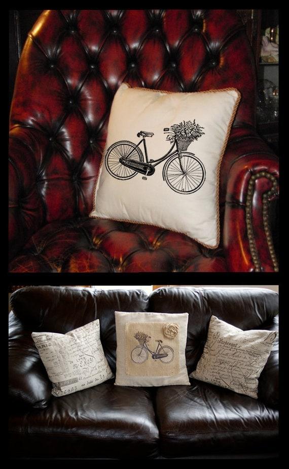 Digital Download коллаж Лист Burlap передачи Vintage ВЕЛОСИПЕДЫ корзины цветов Ленты велосипед железа на ткань подушки Tote Кухонные полотенца № 1804
