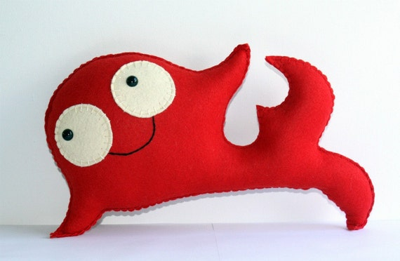 Stuffed Whale Felt Plush Animal, Cute Felt Fish Animal Plushie, Cute Red Stuffed Animal