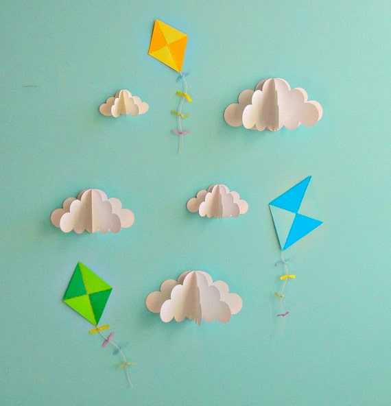 Kites and Clouds - 3D Paper Wall Art/Wall Decor/Wall Decals