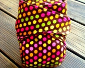Fitted Cloth Diaper--Brown and Colorful Polka Dots