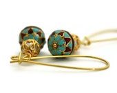 Turquoise blue and red long dangles ethnic  earrings indian bead  enamel Jaipur - Ahkriti