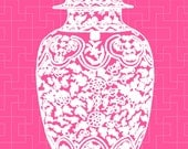 White Ming Chinoiserie Ginger Jar on Bright Pink Lattice 11x14 Giclee - thepinkpagoda