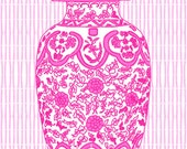 Hot Pink Ming Chinoiserie Ginger Jar on Bamboo Stripe 11x14 Giclee - thepinkpagoda