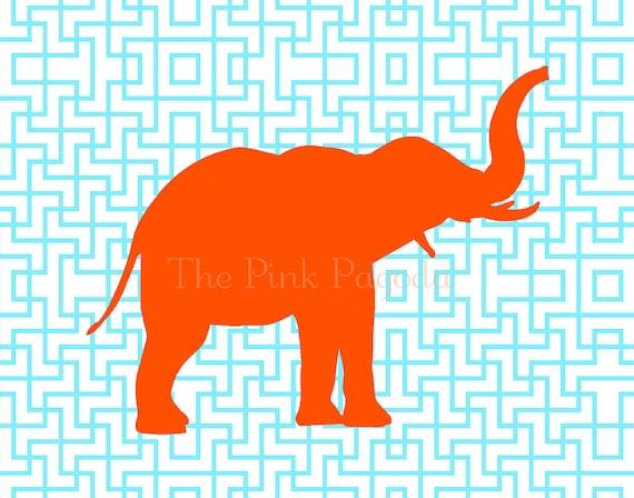 Tangerine Orange Elephant Silhouette on Turquoise Lattice Facing Right Giclee 11x14