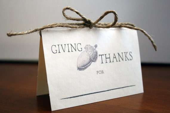 Giving Thanks -- Acorn Thanksgiving Place Cards --  Set of 14