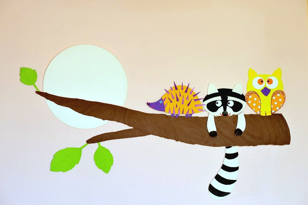 Made to order Tree party owl raccoon and hedgehog on a by Tutika