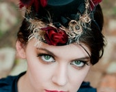 Black Mini Top Hat with Red Roses and Red Feathers - LA FEMME ROUGE - LaCocoRouge