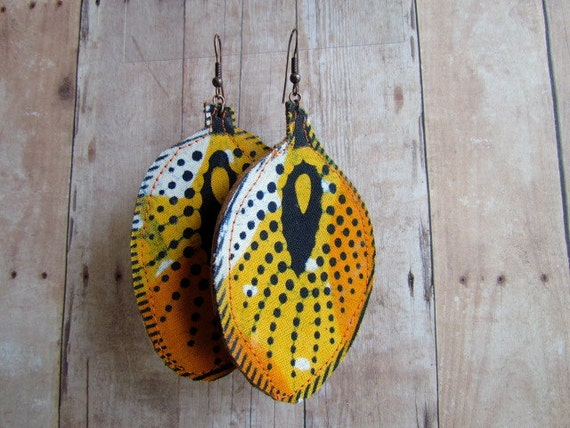 African Print & Genuine Leather Earrings