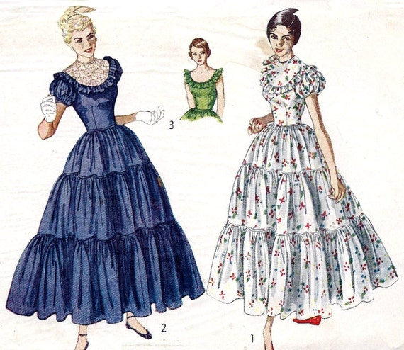 "1940s Prom Dress, Evening Gown, Ball Gown, Vintage Sewing Pattern, Simplicity 3040 bust 29"" Uncut"