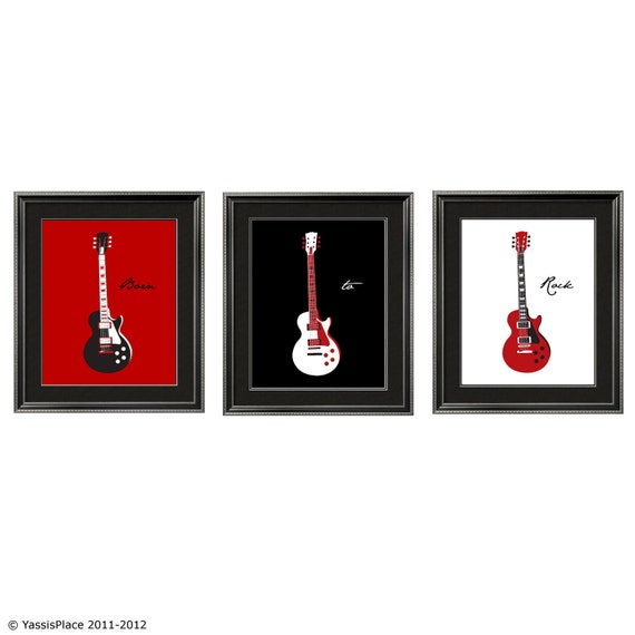 Guitar Art Children's Wall Art in red, black and white 3 pc set 8x10 by Yassisplace