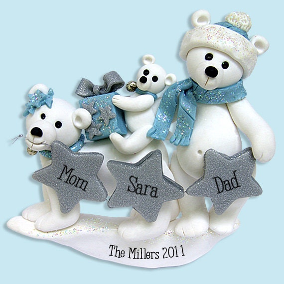 Polar Bear Family of 3 Polymer Clay Personalized Christmas Family Ornament