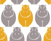 "Original Designer Cotton Fabric-  ""Happy Hippos"" Fat Quarter ( 21""x18"")"