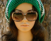 Slouchy Beanie Beret Tam Boho Urban Stylish Women Teens Men In Green And White