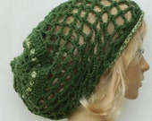 Slouchy Mesh..Snood..In Green And Multicolored Stripes