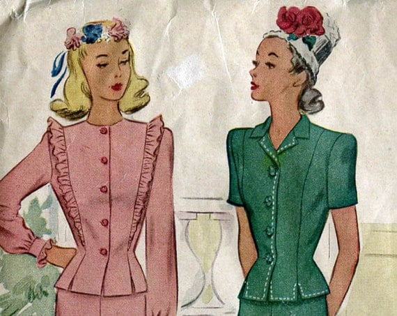 McCall's 6127 Vintage 40s Dress Suit Peplum Sewing Pattern B32