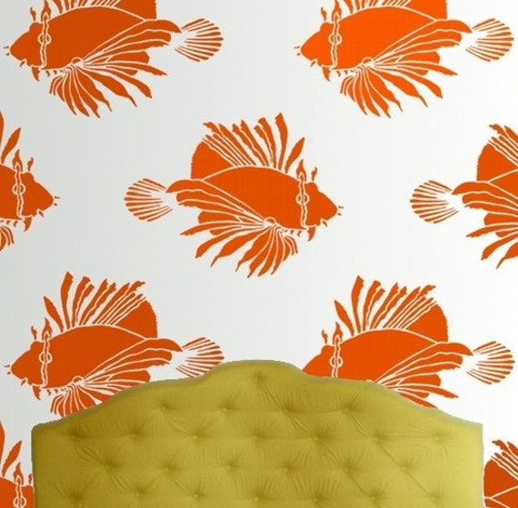 Wall Stencil, Reusable - LIONFISH Large Fish Stencil - DIY Home Decor/Wall Art