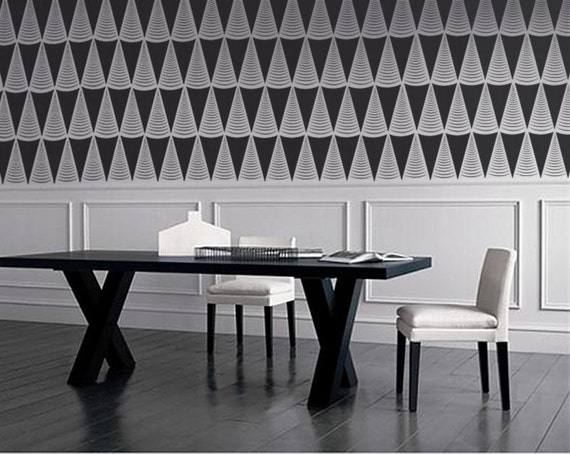 STENCIL for Walls - Art Deco Triangles - Modern Repeating Pattern Stencil