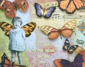 "Mixed Media Butterfly Collage  ""Live as Big as Your Dreams"" - CuriousCrowArt"