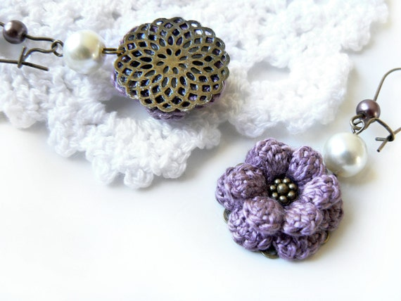 Purple Crochet Flower Earrings with Cream Glass Crystal Pearls, Antique Bronze Ear Wires, and 100% Cotton Thread