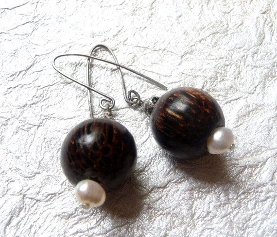 Wood and Pearl Earrings On Silver Filled Artisan Ear Wires