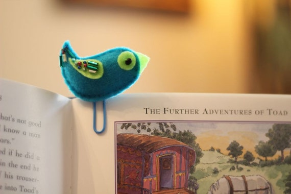 Bird Teal Blue Office Bookmark Felt Paperclip