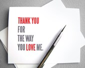 Anniversary card, Love card: Thank you for the way you love me - red, gray and white simple typography