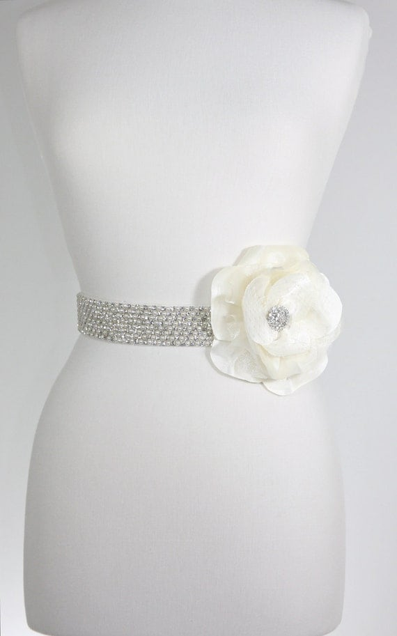 "Flower Bridal Sash- crystal sash, pearl belt-reserved 25"" short ends IVORY"