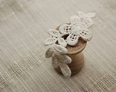 Lace Appliques Beige Cotton Embroidery Leaves With Flower Lace Appliques 4pcs - Lacebeauty