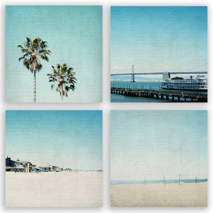 Teal Home Decor aqua decor palm trees beach by ParrishHousePhotos