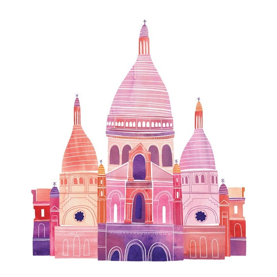 "Sacre Coeur Illustration, 12"" x 12"", Digital Print"