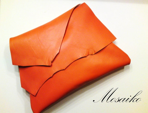 Tangerine orange leather clutch handbag by MOSAIKO on Etsy
