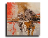 Abstract Wall art Texture Orange Brown Fine Art Original Painting 30 x 30 Skye Taylor Artist - skyetaylorgalleries