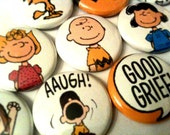 PEANUTS - a pinback button set featuring Charlie Brown and his friends - SkippyDogDesigns