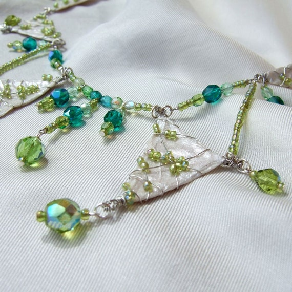 Vintage russian inspired green glass necklace