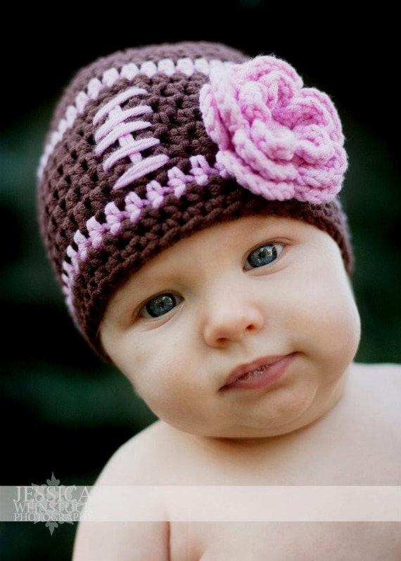 Baby Girl Football Beanie Hat Pretty In Pink Toddler 3 - 6 month to 2 Years  - Cute Photo Prop