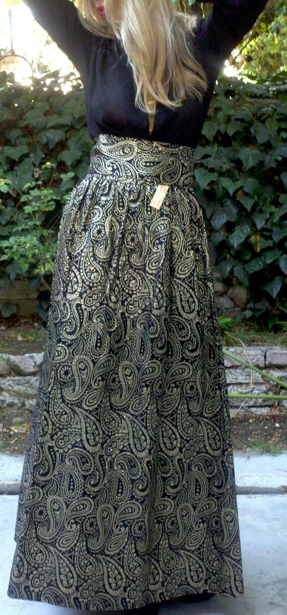 Solid Gold Vintage Paisley Brocade Maxi Skirt NWT