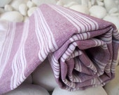 Best Quality,Hand Woven,Light Turkish Cotton Bath Towel or Sarong-Purple and White Stripes - Turkishtowel